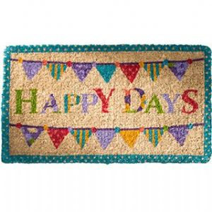Doormat~ Bohemian Hippy Coconut Fibre Happy Days Bunting Doormat~ By Folio Gothic Hippy DM31